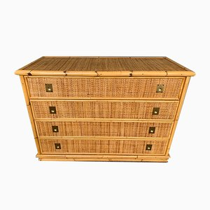 Vintage Italian Bamboo and Brass Chest of Drawers from Dal Vera, 1970s