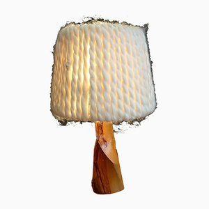 Vintage Wood and Artisanal Wool Table Lamp
