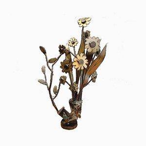 Schwarze Vintage Blumen Skulptur aus geschichtetem Metall