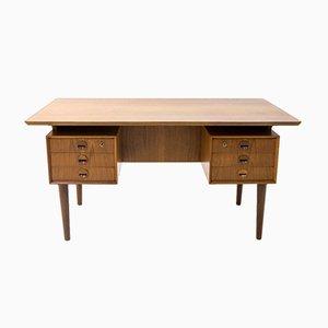 Dänischer Teak Schreibtisch mit Schwebender Tischplatte, 1960er