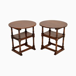 Antique Oak Monks Bench Armchairs or Tables, Set of 2