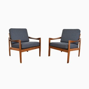 Mid-Century Danish Lounge Chairs by Illum Wikkelsø for Niels Eilersen, 1960s, Set of 2
