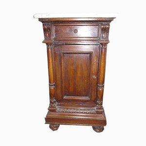Antique Carved Walnut Nightstands, Set of 2
