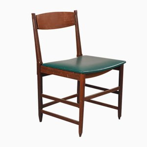 Skandinavische Esszimmerstühle aus Grünem Skai & Holz, 1960er, 6er Set