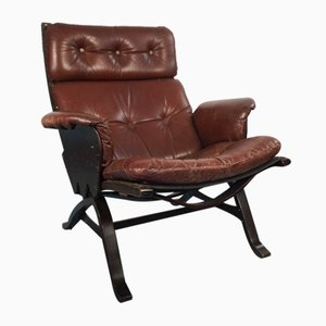 Brown Leather and Wooden Lounge Chair, 1970s