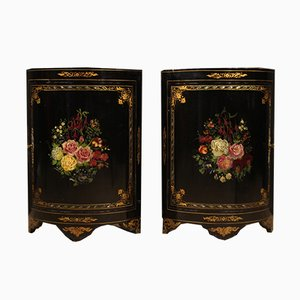 French Lacquered and Painted Corner Cabinets, 1950s, Set of 2