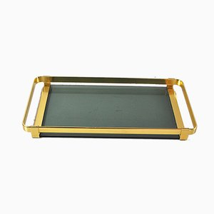 Italian Brass Plated Metal and Amber Glass Tray, 1960s