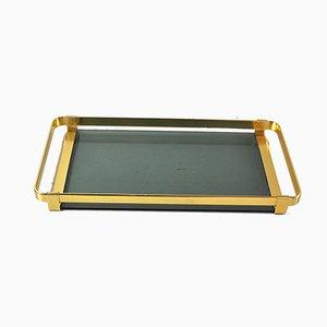 Italienisches Tablett aus Vermessingtem Metall & Bernsteingelbem Glas, 1960er