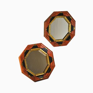 Hexagonal Wooden Mirrors, 1960s, Set of 2