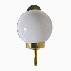 Brass and Opaline Glass Sconces, 1960s, Set of 2