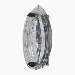 Italian Crystal and Steel Sconce, 1960s