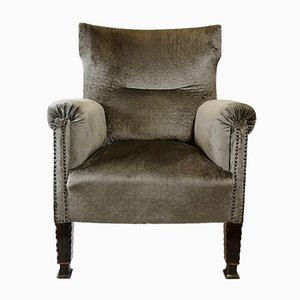 Antique Gray Velvet Bergere Armchairs, 1910s, Set of 2