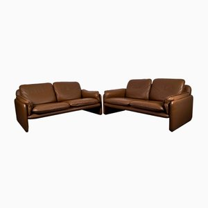 Brown Leather DS 61 2-Seat Sofas from de Sede, 1960s, Set of 2
