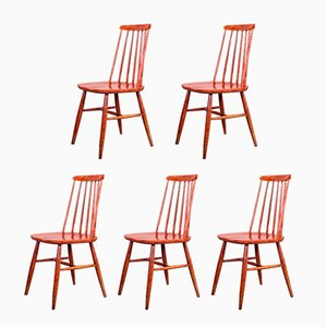 Vintage Red Dining Chairs in the Style of Ilmari Tapiovaara, Set of 5