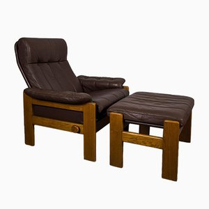 Leather Armchair & Stool from Skipper, 1982, Set of 2