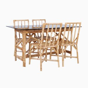 Smoked Bamboo & Glass Dining Table & Chairs Set, 1970s, Set of 5