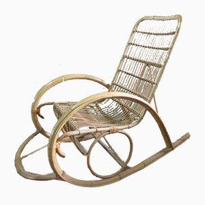 Rocking Chair de Jardin Vintage en Rotin, 1970s