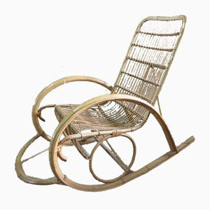 Vintage Rattan Garden Rocking Chair, 1970s