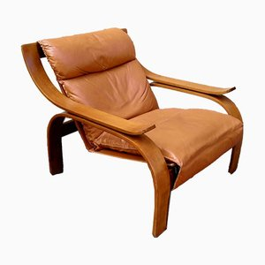 Brown Leather Model 722 Woodline Lounge Chair by Marco Zanuso for Arflex, 1970s