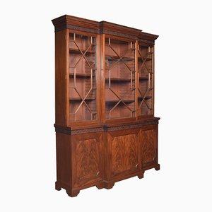 Antique Mahogany Breakfront Library Bookcase