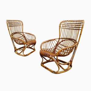 Italian Rattan Garden Armchairs, 1960s, Set of 2