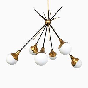 Plafonnier Sputnik Vintage à 6 Lampes de Stilnovo, Italie, 1950s