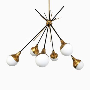 Vintage Italian 6-Light Sputnik Ceiling Lamp from Stilnovo, 1950s