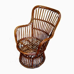 Cylindrical Rattan Armchairs, 1960s, Set of 2