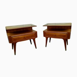 Wood, Glass, and Brass Nightstands, 1950s, Set of 2