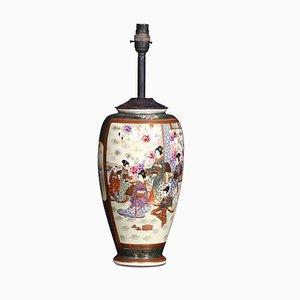 Antike japanische Porzellanvase Lampe