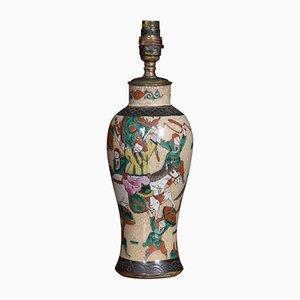Antike japanische Crackle Lasur Vase Lampe