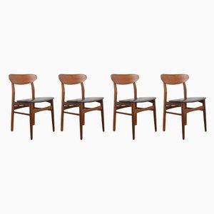 Chaises de Salon Mid-Century en Teck, Danemark, 1960s, Set de 4