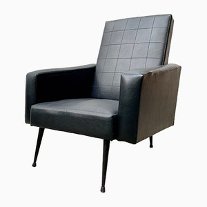 Vintage French Black Vinyl Armchair