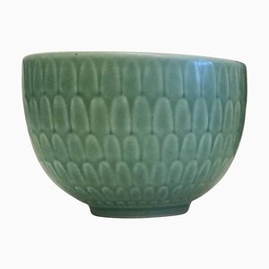 Small Green Faience Marselis Bowl by Nils Thorsson for Aluminia/Royal Copenhagen, 1950s