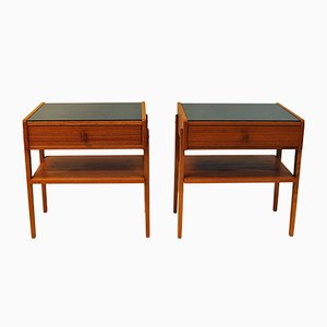 Mid-Century Swedish Teak and Glass Nightstands, 1960s, Set of 2