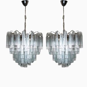 Glass Chandeliers by Paulo Venini, Set of 2