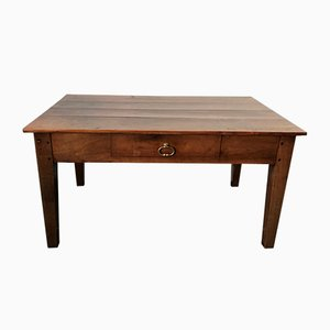 Mid-Century Rustic Cherry Farm Coffee Table with Drawer, 1950s