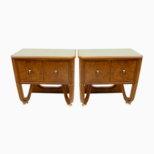 Art Deco Walnut and Walnut Root Nightstands, 1920s, Set of 2