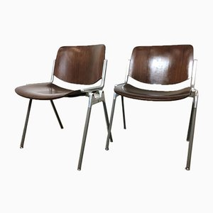 Rosewood Model 106 Desk Chairs by Giancarlo Piretti for Castelli / Anonima Castelli, 1960s, Set of 2