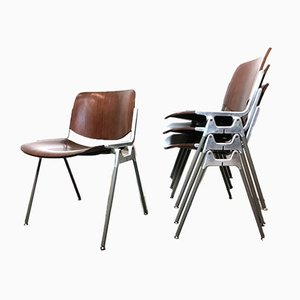 Rosewood Model 106 Desk Chairs by Giancarlo Piretti for Castelli / Anonima Castelli, 1960s, Set of 4
