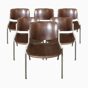 Rosewood Model 106 Desk Chairs by Giancarlo Piretti for Castelli / Anonima Castelli, 1960s, Set of 6