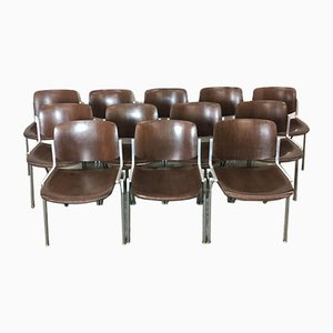 Rosewood Model 106 Desk Chairs by Giancarlo Piretti for Castelli / Anonima Castelli, 1960s, Set of 12
