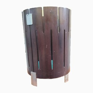 Wood and Burnished Glass Umbrella Stand in the Style of Ico Luisa Parisi from Stildomus, 1960s