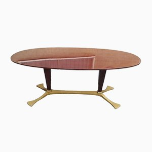 Oval Wood and Gilded Aluminum Dining Table, 1950s