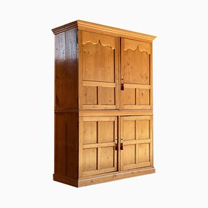 Antique Victorian Pinewood Wardrobe Housekeepers Cupboard, 1890