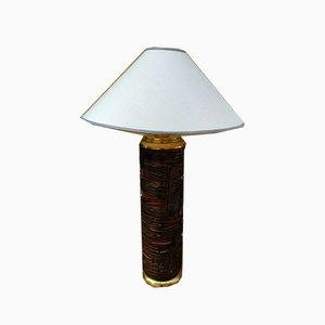 Brutalist Wood and Brass Table Lamp, 1950s