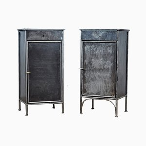 Steel Nightstands, 1920s, Set of 2