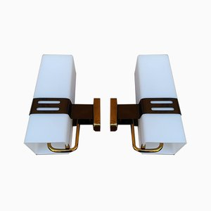 Copper, Brass, and Glass Sconces from Stilnovo, 1960s, Set of 2
