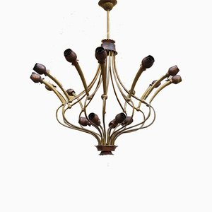 Brass and Copper Flowers 18-Light Chandelier, 1950s