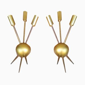 Brass Sconces in the Style of Stilnovo, 1950s, Set of 2